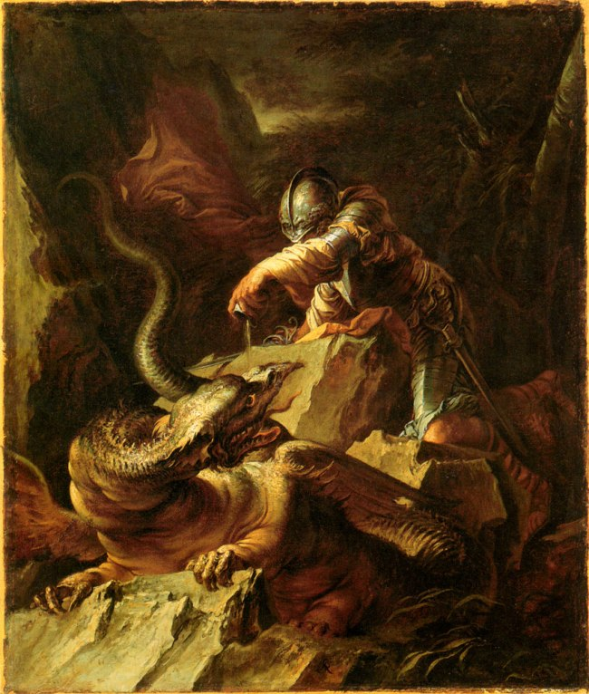 Salvator Rosa Jason encantando al dragon