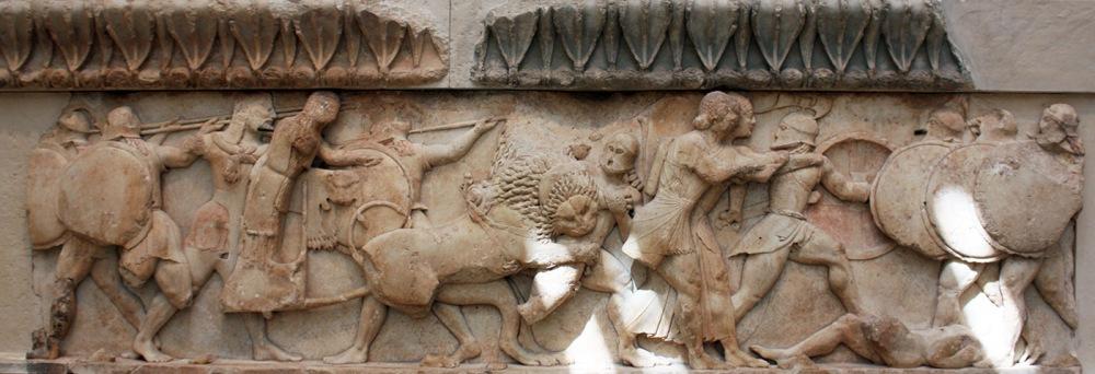 delfos-tesoro-sifnios-friso-norte-gigantomaquia