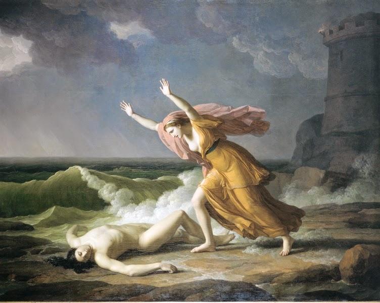Leandro y Hero, de Jean-Joseph Taillasson