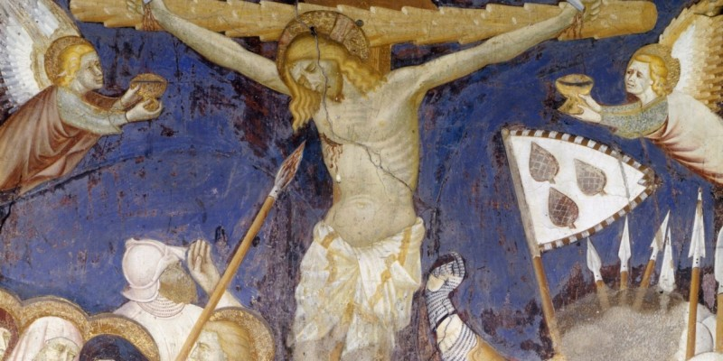Italy, Lombardy region, Como, Church of Sant Abbondio, apse. Life of Christ, detail - Crucifixon, fr
